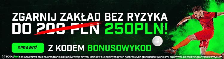 Zakład bez ryzyka 250 zł!
